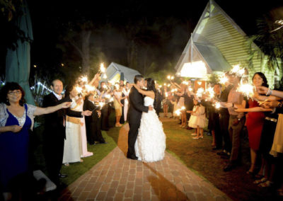 Bride and groom sparklers
